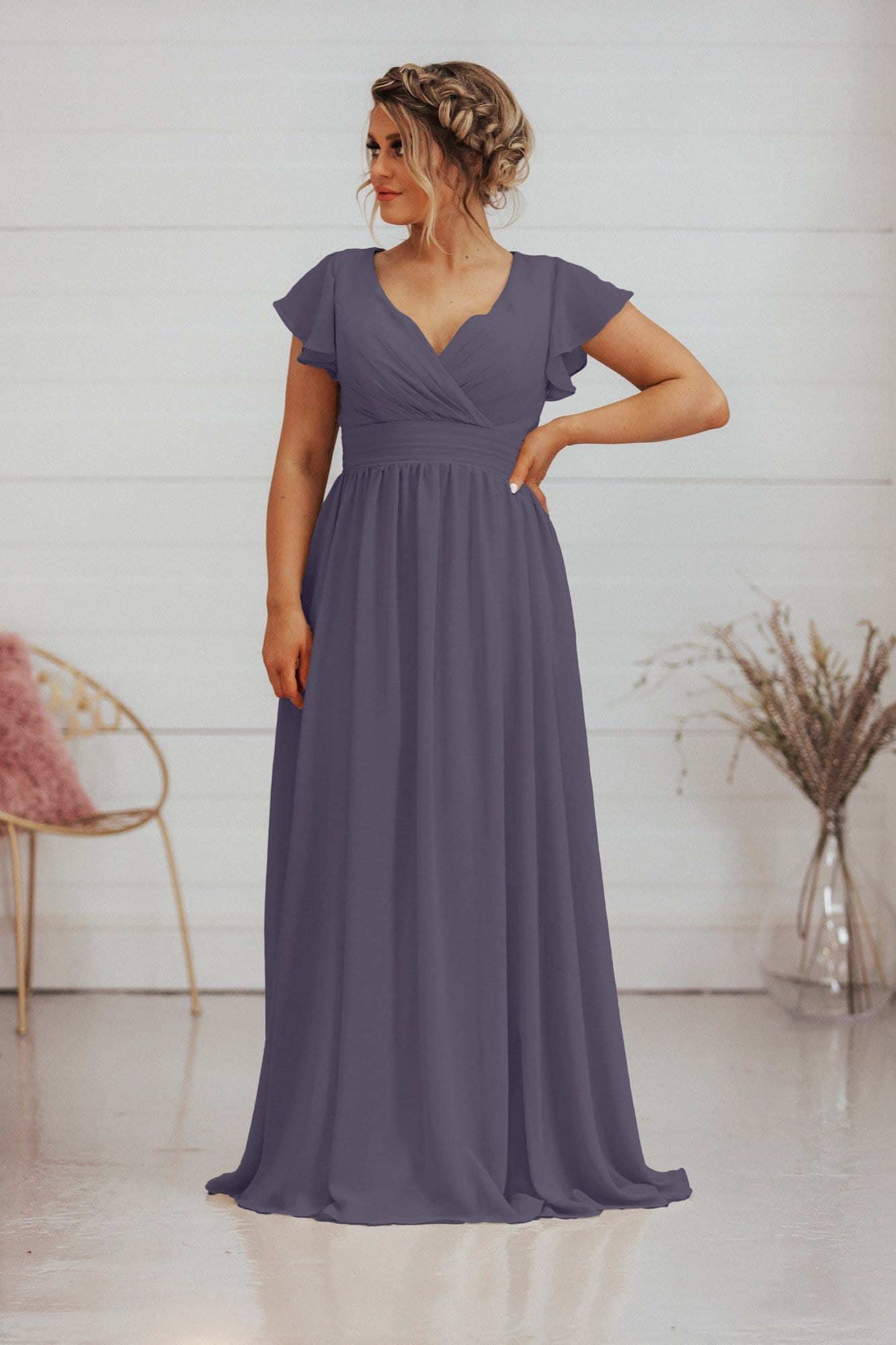 Corey Dress | Capped Sleeve A Line Bridesmaid Dress - That Special Day Bridal Warehouse