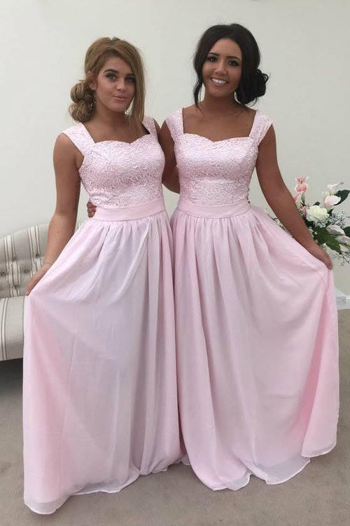 Charlotte Baby Pink 2 Strap Lace Bridesmaid Dress - That Special Day Bridal Warehouse