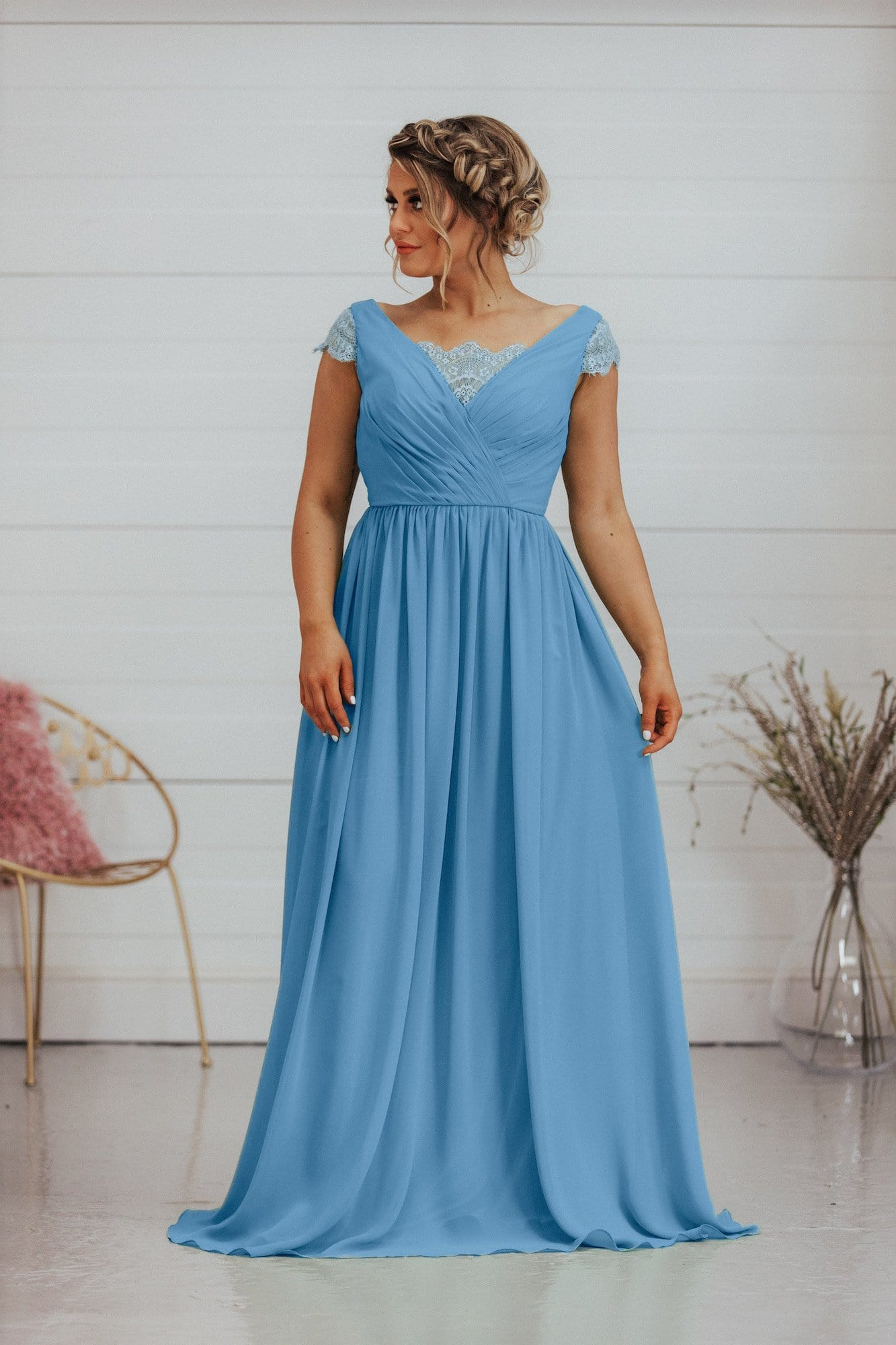 Chloe Dress | Lace Capped Sleeve Chiffon Bridesmaid Dress - That Special Day Bridal Warehouse
