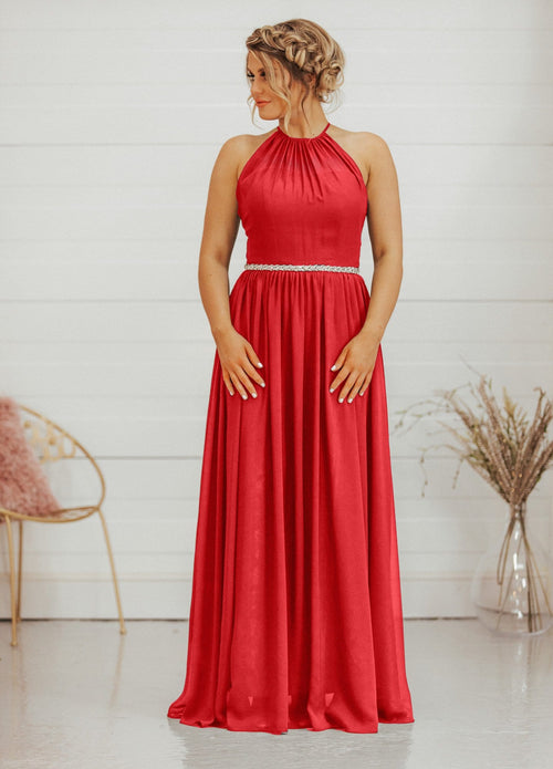 Anastasia | Chiffon Halter Neck Bridesmaid Dress - That Special Day Bridal Warehouse
