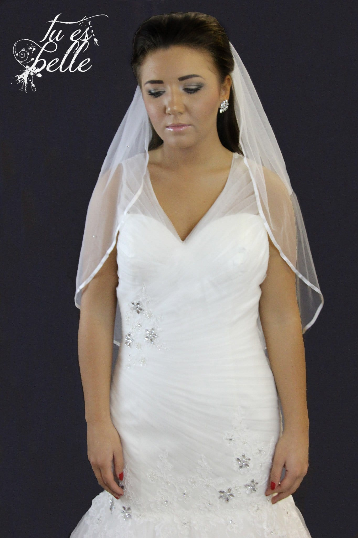 Olivia Two Tier Detachable Satin Edge Cathedral Veil - That Special Day Bridal Warehouse