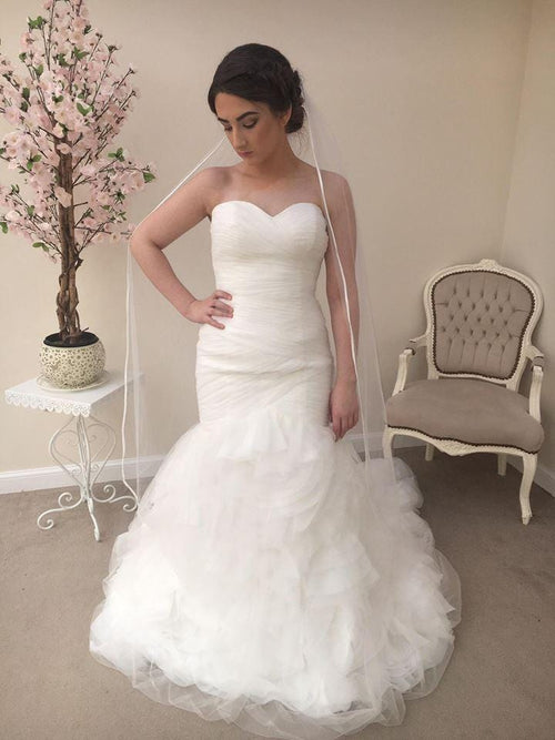 One Tier Knee Length Satin Edge - That Special Day Bridal Warehouse