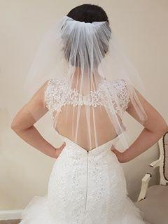 One Tier Shoulder Length Cut Edge - That Special Day Bridal Warehouse