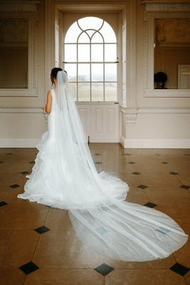Bonita-One Tier Cathedral Length Cut Edge Veil