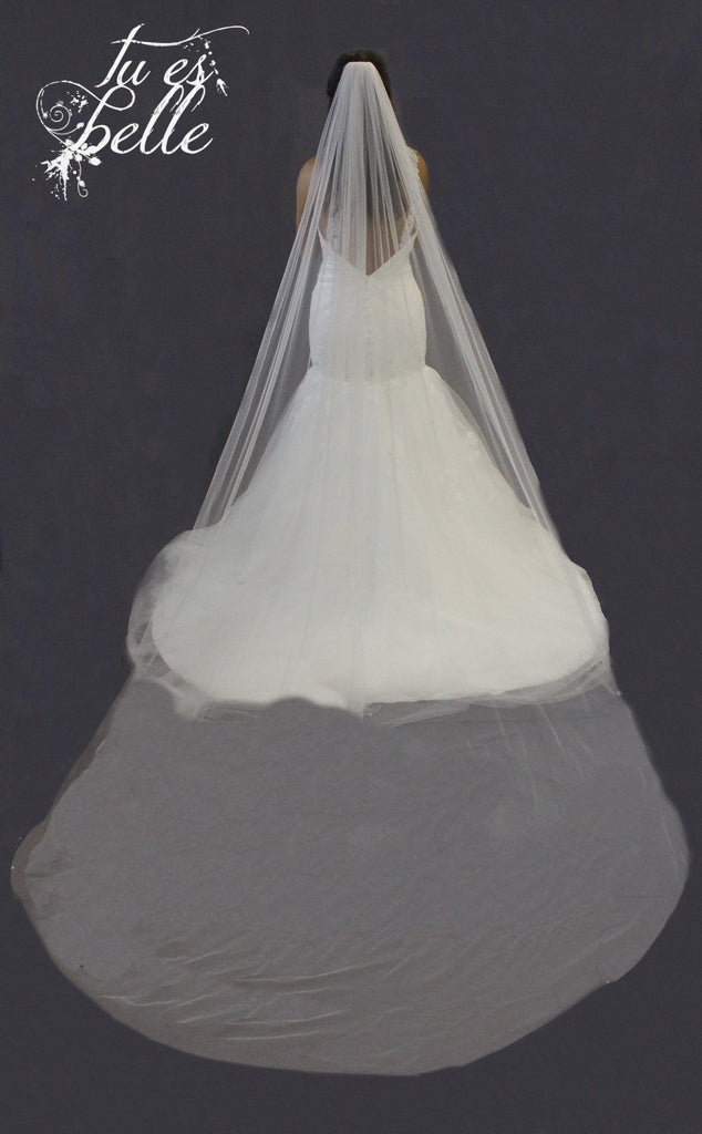Two Tier Cathedral Length Cut Edge Veil