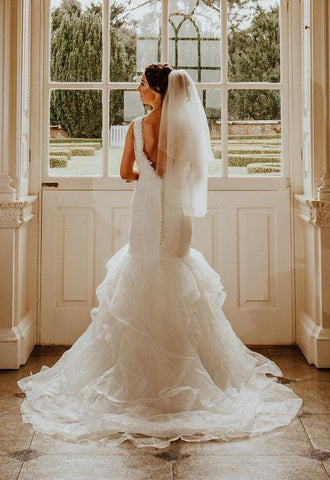 Luciana-2 Tier Waist Length Bridal Veil With Pencil Edge & Scattered Crystals