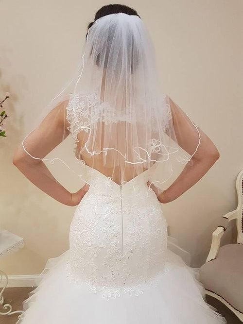 Two Tier Waist Length With Lace/Flower Edge - That Special Day Bridal Warehouse