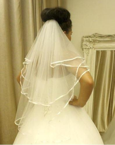 Daniela -2 Tier Waist Length bridal veil with Satin Edge & Scattered Crystals - That Special Day Bridal Warehouse
