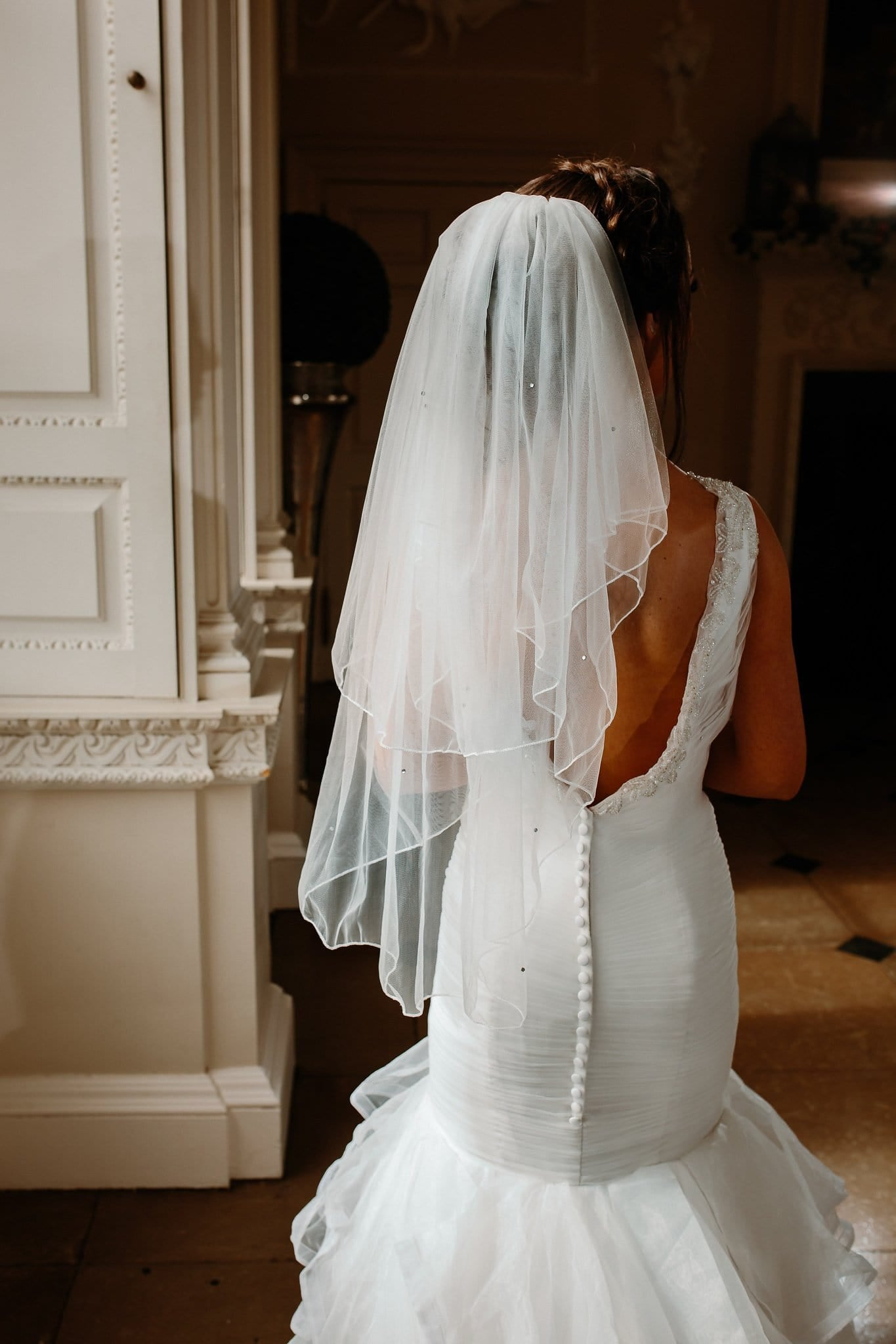 Luciana-2 Tier Waist Length Bridal Veil With Pencil Edge & Scattered Crystals - That Special Day Bridal Warehouse