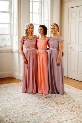 Abigail Off Shoulder Bridesmaid Dress With Diamante Belt