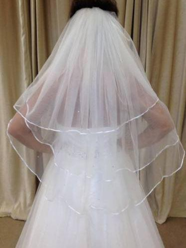 Camila-3 Tier Waist Length Wedding Veil Satin Edge With Crystals