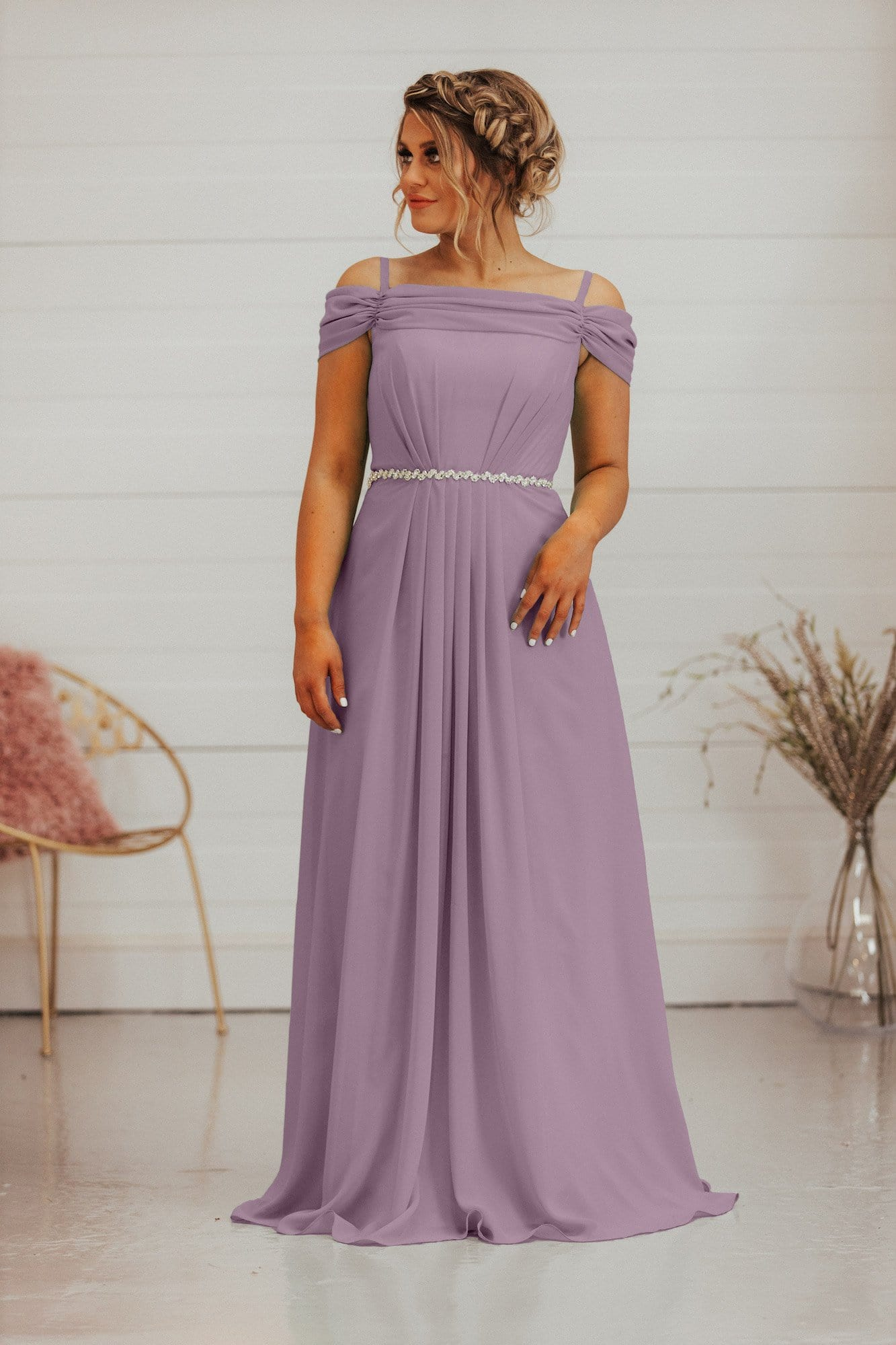 Savannah Dress | Off The Shoulder A Line Bridesmaid Dress - That Special Day Bridal Warehouse