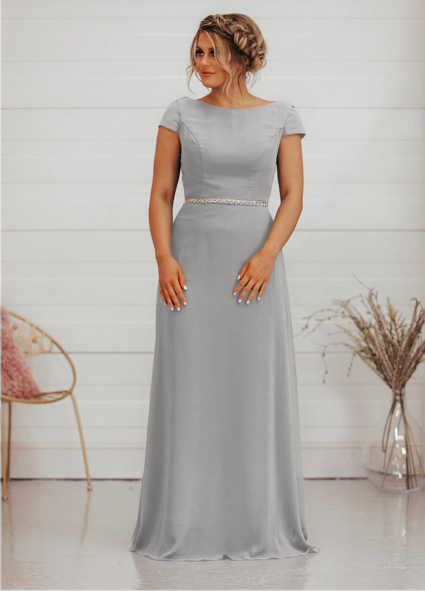 Bailie Dress | Capped Sleeve Cowl Back Bridesmaid Dress - That Special Day Bridal Warehouse