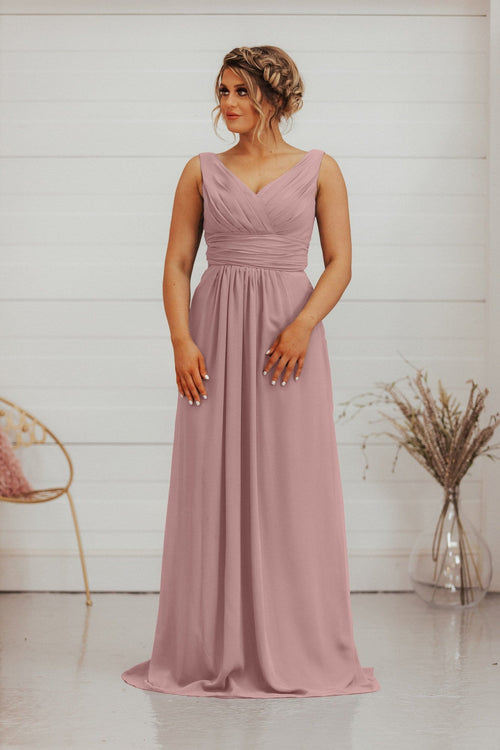 Esme | 2 Straps Chiffon A Line Bridesmaid Dress - That Special Day Bridal Warehouse