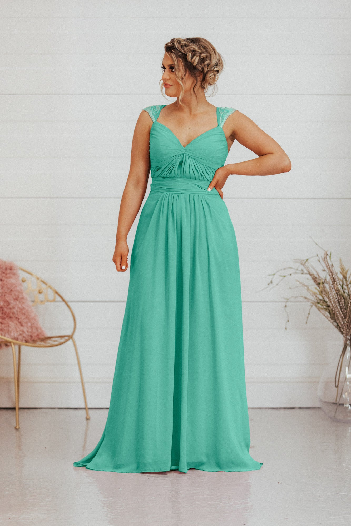 Elaina Dress | Chiffon V Neck A Line Bridesmaid Dress - That Special Day Bridal Warehouse