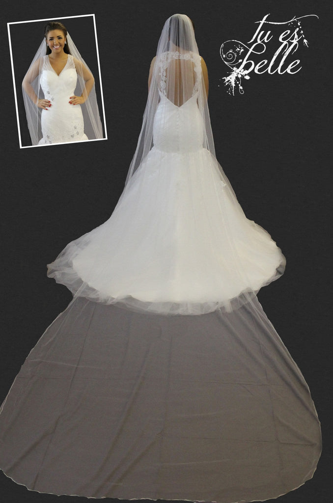 Anya- One Tier Cathedral Length Pencil Edge Veil
