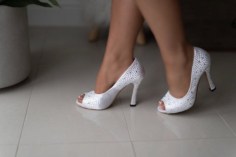 Marilyn Peep Toe Crystal Bridal Shoes