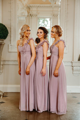 Eve One Shoulder Ruffle Knee Length Bridesmaid Dress