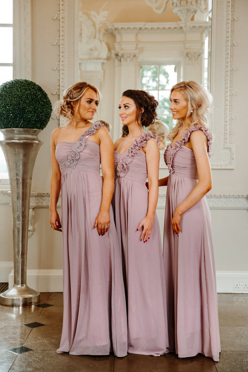 Eve One Shoulder Ruffle Knee Length Bridesmaid Dress - That Special Day Bridal Warehouse