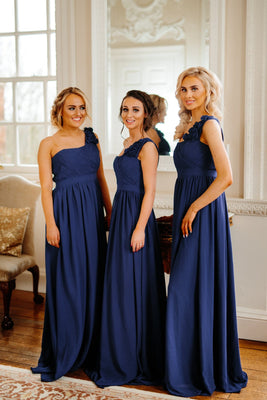 Daisy A-Line One Shoulder Maxi Bridesmaid Dress With Ruffle Sleeve