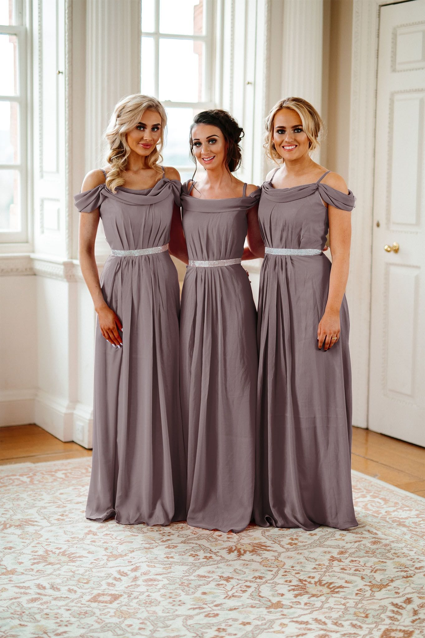 Abigail Off Shoulder Bridesmaid Dress With Diamante Belt - That Special Day Bridal Warehouse