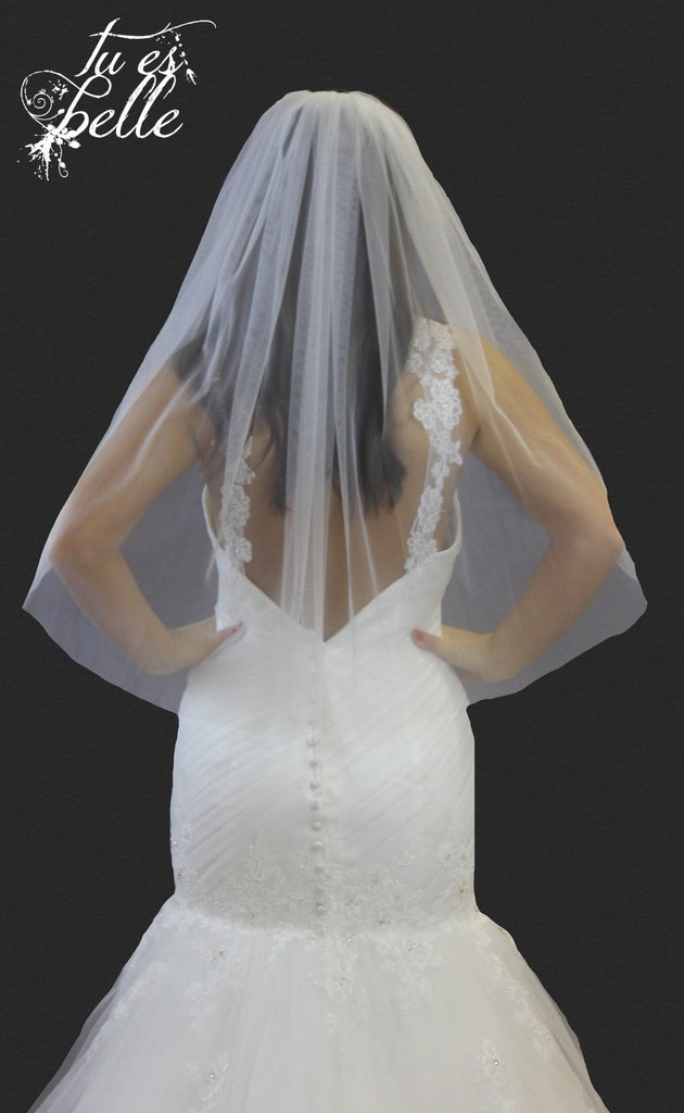 One Tier Cut Edge Waist Length Veil