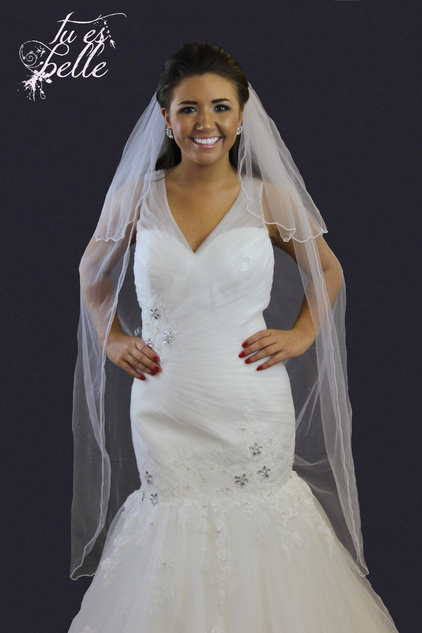 Two Tier Knee Length Pencil Edge Veil - That Special Day Bridal Warehouse
