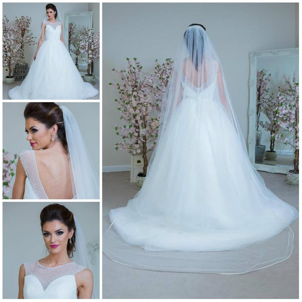 Isabella -  One Tier Cathedral Length Satin Edge Crystal Veil