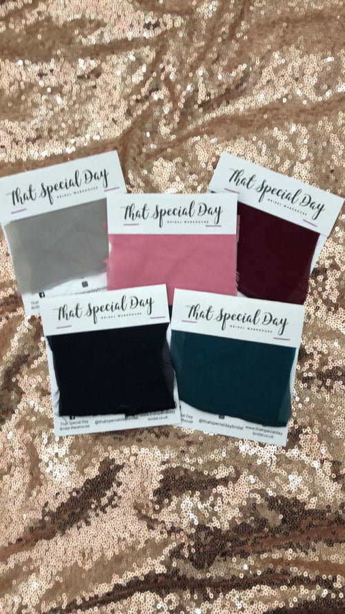 UP TO FIVE Sample Material Swatches - That Special Day Bridal Warehouse