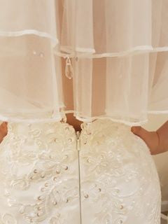 Two Tier Waist Length With Satin Edge & Drop Crystals - That Special Day Bridal Warehouse
