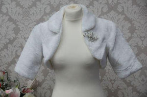 Faux Fur Bolero With Brooch