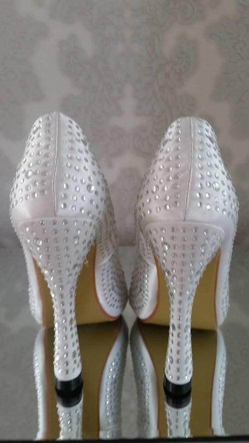 Marilyn Peep Toe Crystal Bridal Shoes - That Special Day Bridal Warehouse