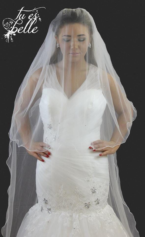 Valeria- 2 in 1 Detachable Veil Chapel or Cathedral Crystal Veil - That Special Day Bridal Warehouse