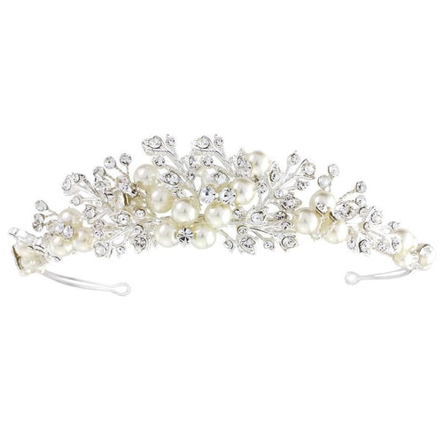 Verity Pearl Tiara 3 Silver - That Special Day Bridal Warehouse