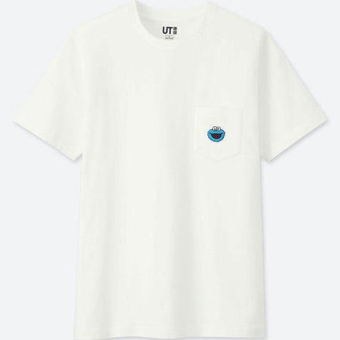UNIQLO x KAWS SESAME STREET COOKIE MONSTER POCKET T-SHIRT - WHITE
