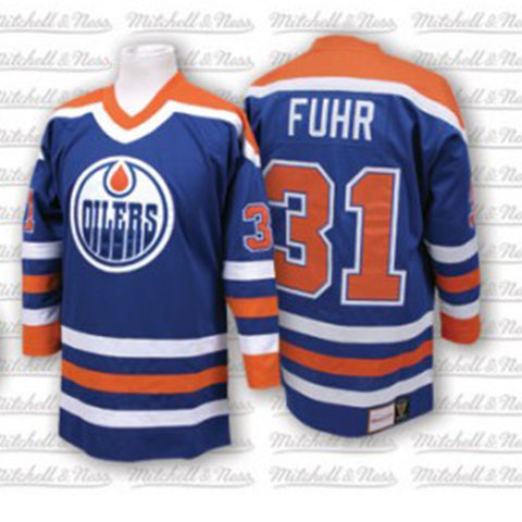 Mitchell & Ness Grant Fuhr 1986-87 Authentic Jersey Edmonton Oilers Blue