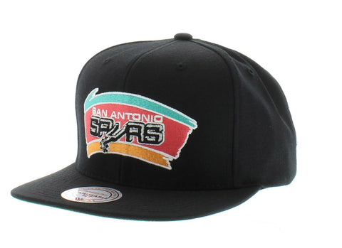 San Antonio Spurs Mitchell and Ness NBA Wool Solid Color Snapback Hat (Black)