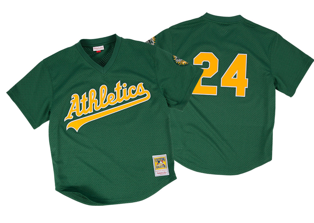 Mitchell & Ness Rickey Henderson 1991 Authentic Mesh BP Jersey Oakland Athletics In Green
