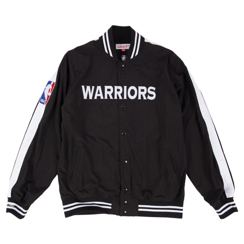 Mitchell & Ness Golden State Warriors Nothing But Net Warm Up Jacket In Black