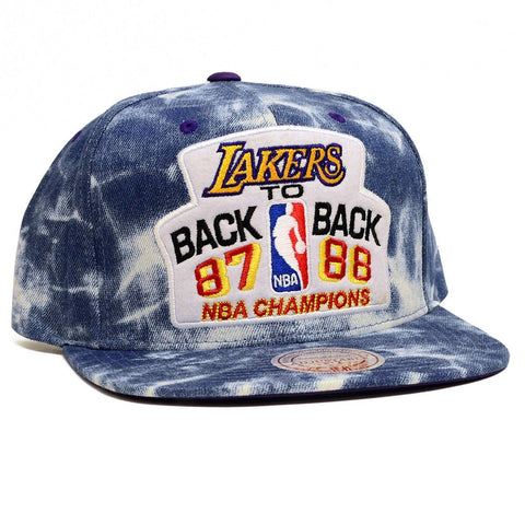 Mitchell & Ness Los Angeles Lakers Back to Back Snapback In Acid Wash