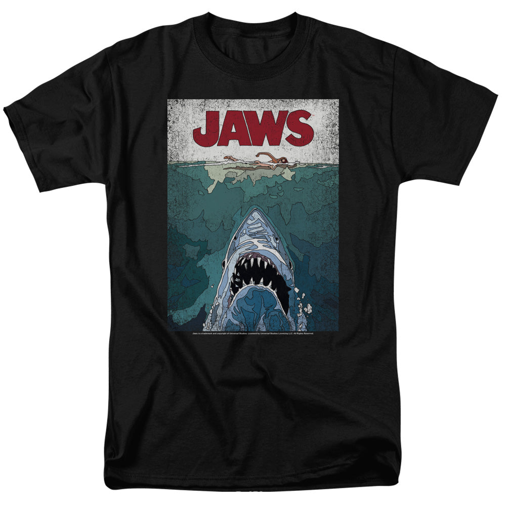 Jaws - Lined Poster Short Sleeve Adult 18/1