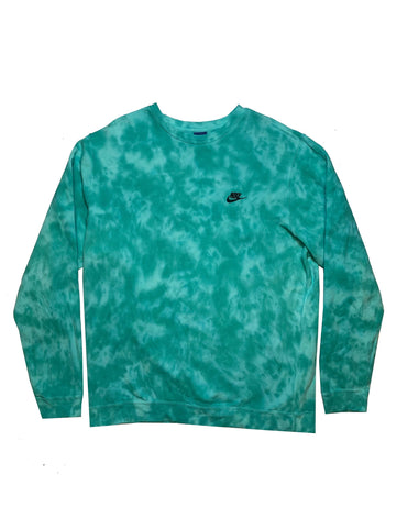 "Nike X Jeffersons Custom Tonal Tie Dye Washed Crewneck ""AQUA MARINE"""