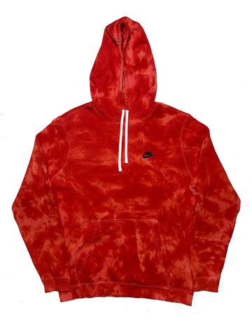 "Nike X Jeffersons Custom Tonal Tie Dye Washed Hoodie ""FIRE RED"""