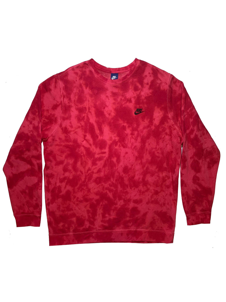 "Nike X Jeffersons Custom Tonal Tie Dye Washed Crewneck ""CARMINE RED"""