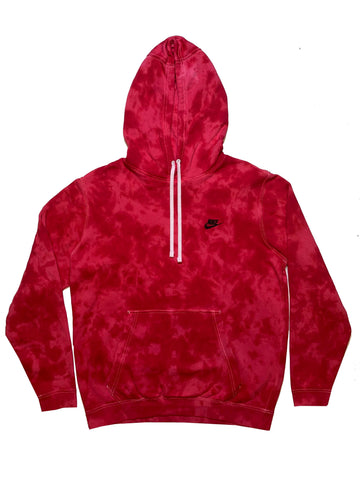 "Nike X Jeffersons Custom Tonal Tie Dye Washed Hoodie ""CARMINE RED"""