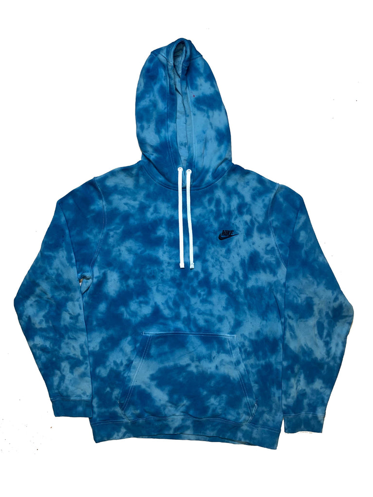 "Nike X Jeffersons Custom Tonal Tie Dye Washed Hoodie ""OCEAN BLUE"""