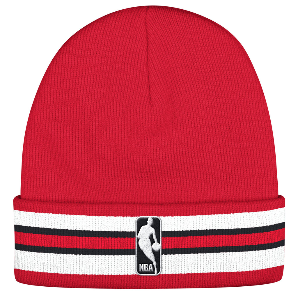 Mitchell & Ness Chicago Bulls League Team Stripe Beanie In Red