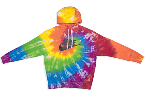 Tie Dyed Nike Club Fleece Hoodies // Rainbow