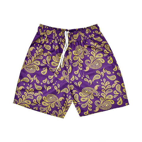 """PAISLEY"" Mesh Shorts in Purple & Gold"