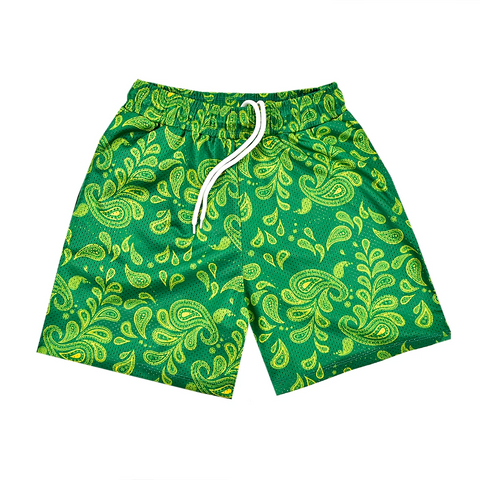 """PAISLEY"" Mesh Shorts in Green/Yellow"